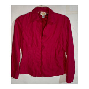 Talbots dark pink suede style button down blouse small